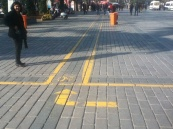 Bike lane across the courtyard between the Blue Mosque and the Haya Sofia. A sign of past conflict.