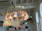 "Chandelier made of Mason Jars, at ""The Pantry"" Tea house in Kala Ghoda"