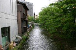 Fast-flowing urban stream, Kyoto