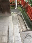 Deliberate increase of roughness in gutter of Shinto Shrine, Ueno Park, Tokyo